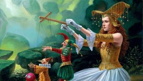 Donna con marionette