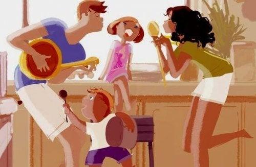 Famiglia che canta in casa