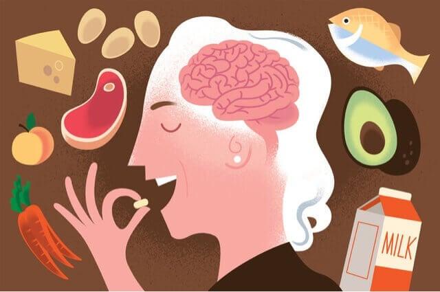 Persona che consuma alimenti ricchi di vitamina B12