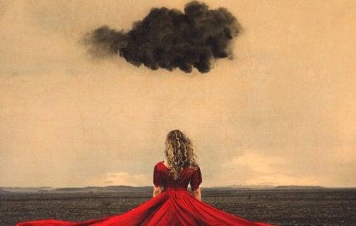 Ragazza con una nube scura, in rappresentazione del prendersi il proprio tempo