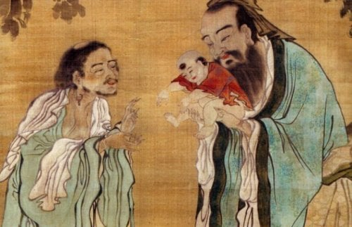 Uomini cinesi con bambino