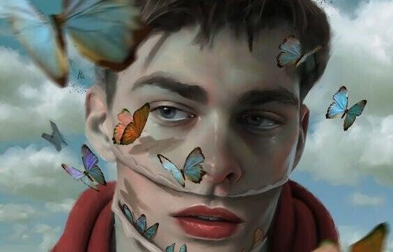 Uomo attorniato da farfalle che deve aumentare l'autostima