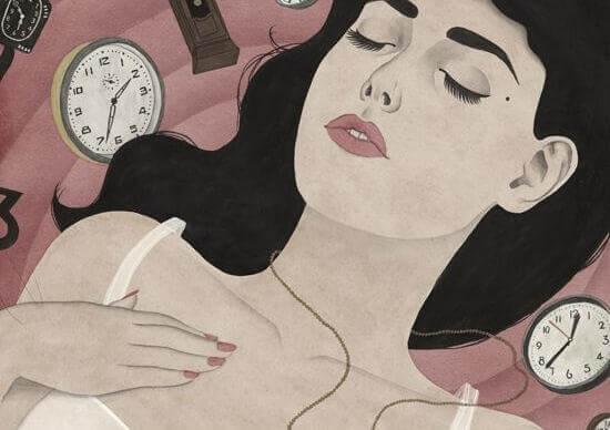 Donna circondata da orologi