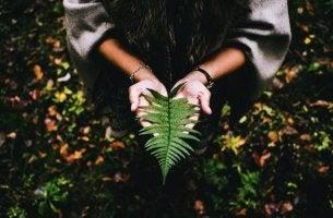 Donna con foglia in mano il senso della vita
