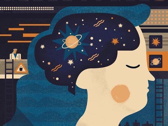 Donna con universo in testa