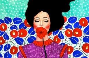 Donna con fiori