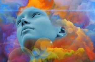 Figura avvolta da colori ansia adattiva
