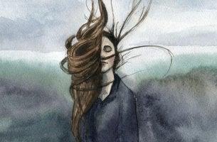 Ragazza con capelli all'aria e occhi chiusi la vendetta