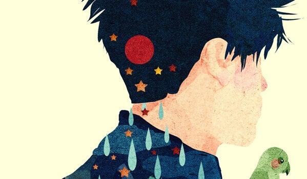 Ragazzo con stelle in testa