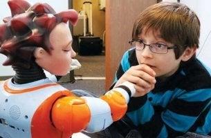 Bambino autistico con robot