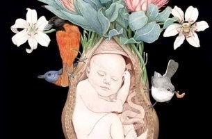 Bambino nell'utero circondato da fiori e uccellini psicologia perinatale