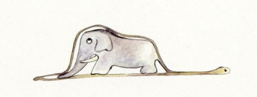 Disegno de Il piccolo principe, un elefante dentro a un serpente