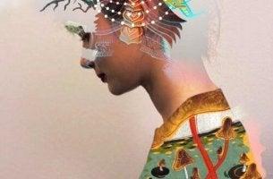 Donna con colori gestire le emozioni con intelligenza