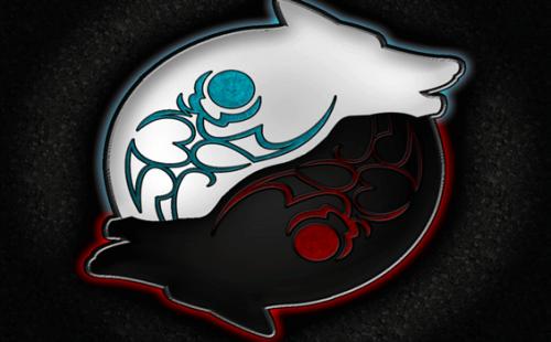 Due lupi che formano lo yin yang