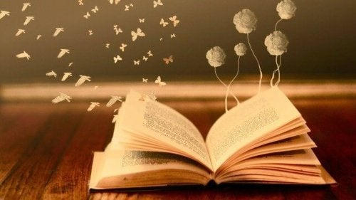 Libro aperto da cui fuoriescono fiori e farfalle