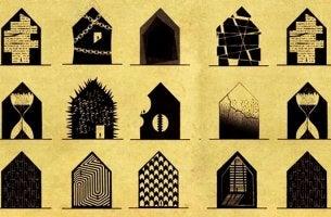 Disturbi mentali rappresentate come case