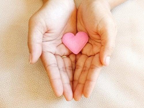 Delle mani che sostengono un cuore
