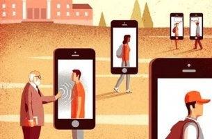 Persone dentro a cellulari