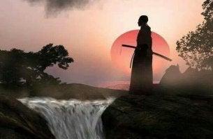 Samurai davanti a una cascata via del guerriero