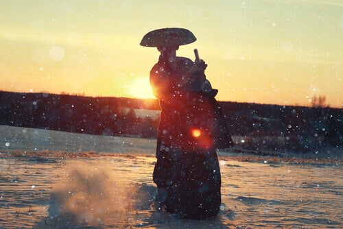Samurai al tramonto che rappresenta gli insegnamenti del cammino del samurai