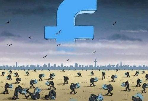 Simbolo di Facebook e persone che guardano il cellulare