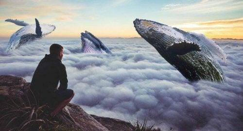 Uomo che guarda un cielo pieno di balene fare qualcosa che spaventa