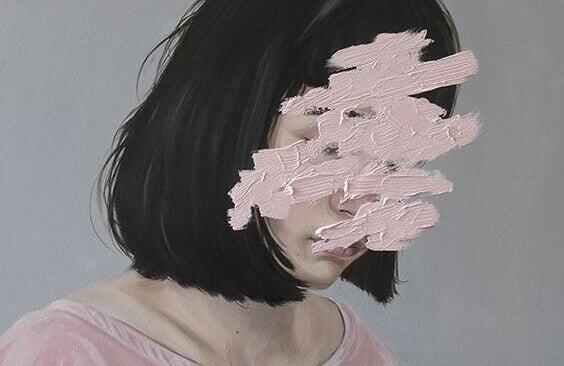 Dipinto di donna con il volto cancellato perdere il controllo
