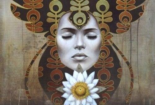 Volto di donna con occhi chiusi che evoca dimensione spirituale