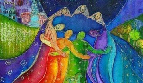 Un abbraccio collettivo colorato