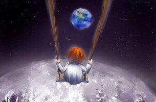 Bambina su un'altalena sopra la luna il caleidoscopio