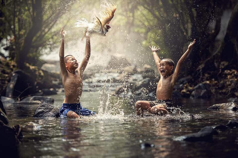 Bambini giocano nella foresta