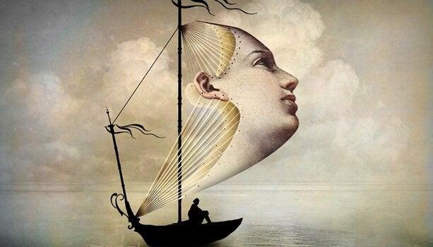 Barca con vela a forma di viso