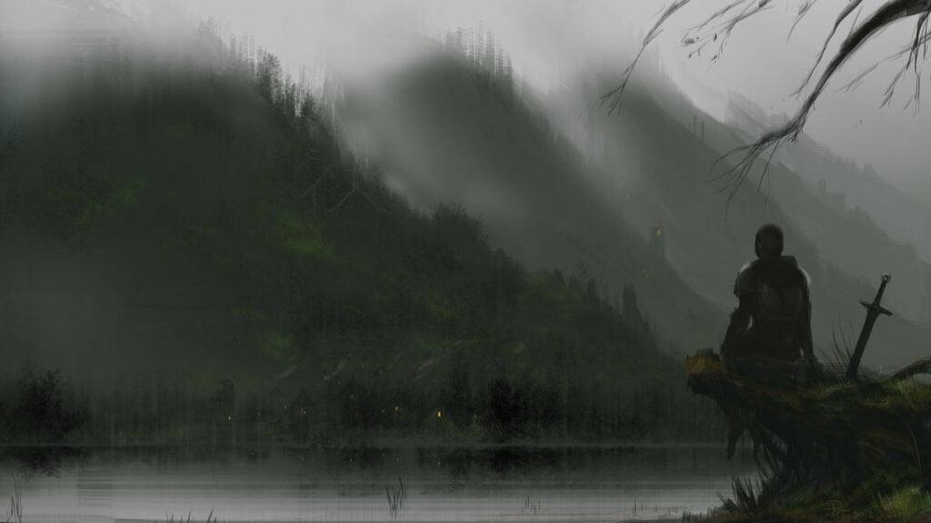 Cavaliere davanti a un lago