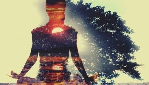 Donna che pratica yoga per esercitare il muscolo dell'anima
