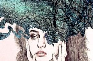 Ragazza con bosco nel cervello igiene mentale