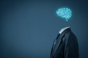 Uomo con cervello fatto di luci