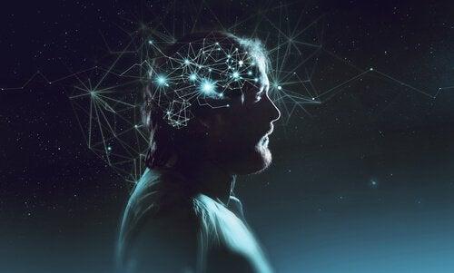 La coscienza umana rappresentata come collegamenti luminosi nel cervello