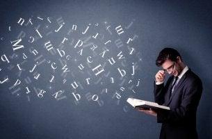Uomo e lettere diversi tipi di dislessia