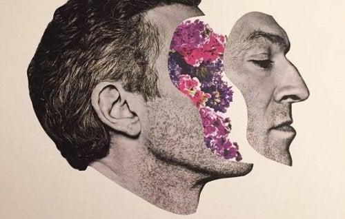 Uomo con fiori nella testa