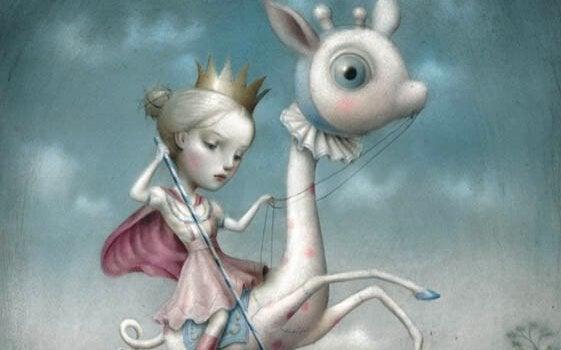 Bambina con corona a cavallo di un animale
