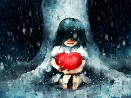 Bambina che abbraccia un cuore