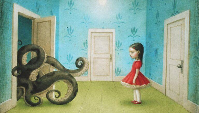 Bambina davanti a una piovra