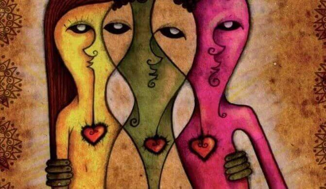 Figure colorate di tre persone abbracciate