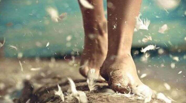 Piedi che camminano tra le piume