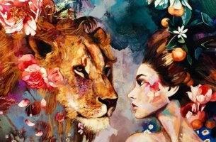 Ragazza e leone credere in sé stessi