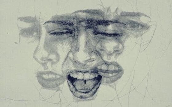 Viso che esprime emozioni negative