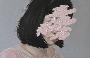 Ritratto di donna con viso cancellato