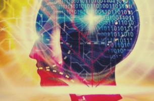 Cervello con numeri binari