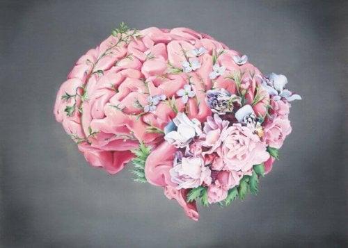 Cervello con dei fiori