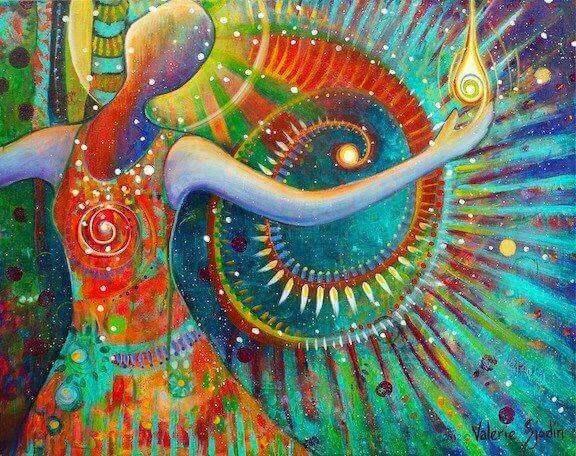 Donna a colori su sfondo colorato